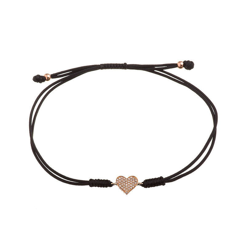 Diamond Heart Cord Bracelet