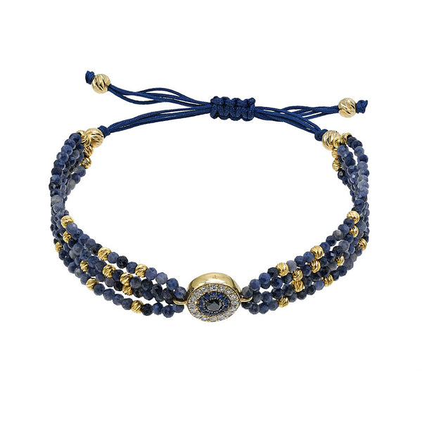 Gold Evil Eye bracelet with sapphire beads