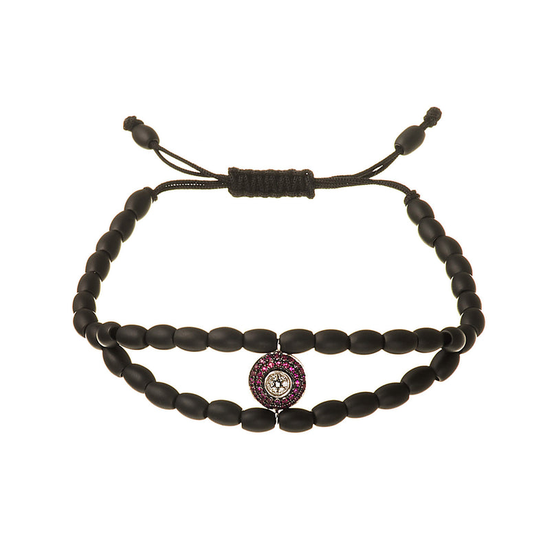 Diamond and Ruby Evil Eye Ceramic Bracelet