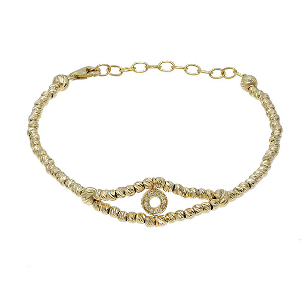 Gold beads bracelet with a diamond circle pendant.