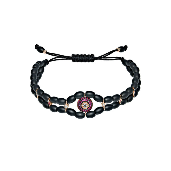 Ceramic double helix ruby evil eye bracelet