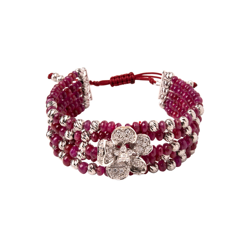 Diamond Flower with ruby beads