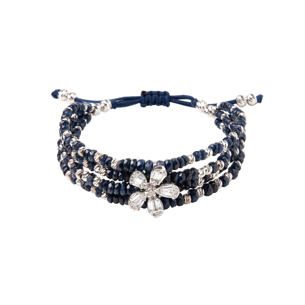 Baquette diamond flower with gold beads and blue sapphire.