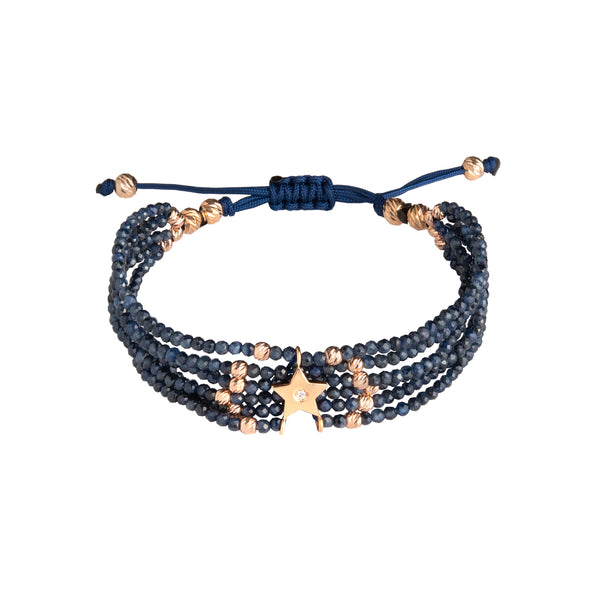 18K Gold and Diamond Star Sapphire Bead Bracelet