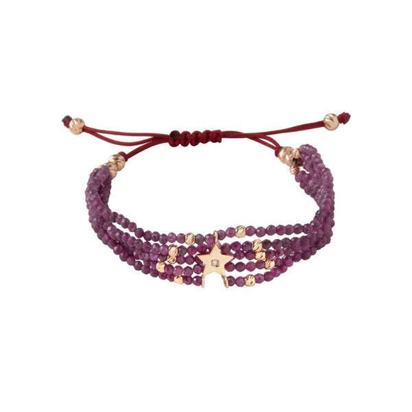 Star bracelet with ruby beads