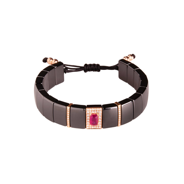 Ruby and Diamond Ceramic Bracelet