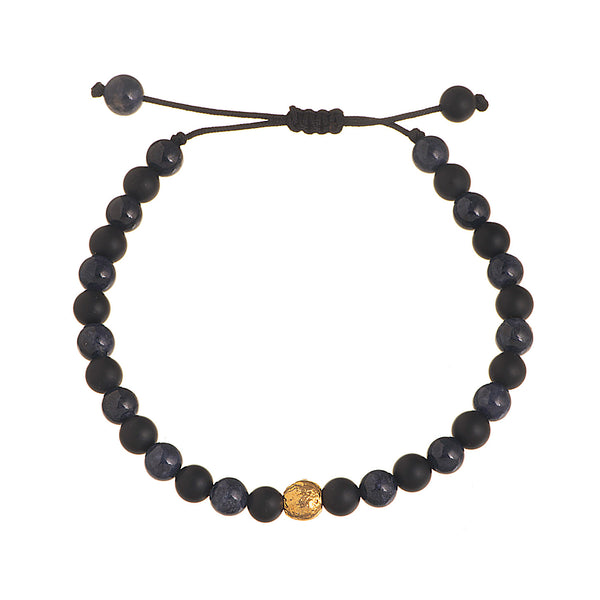 Gold bead bracelet combined with sapphire and onyx beads. Perfect for a present to your boyfriend.