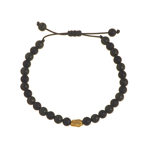 Gold bead bracelet combined with green jade and onyx beads. Perfect for a present to your boyfriend.