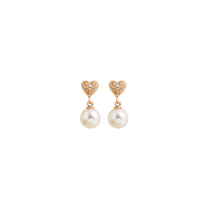 18K Gold, Diamond Heart Pearl Earrings