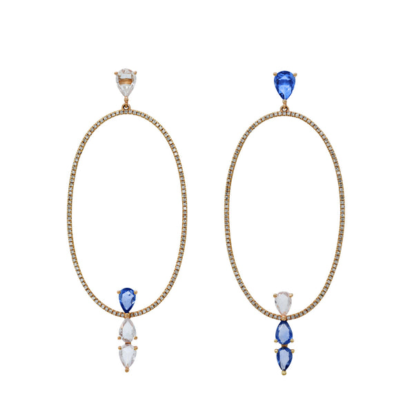 Two Coloured Sapphire Earring