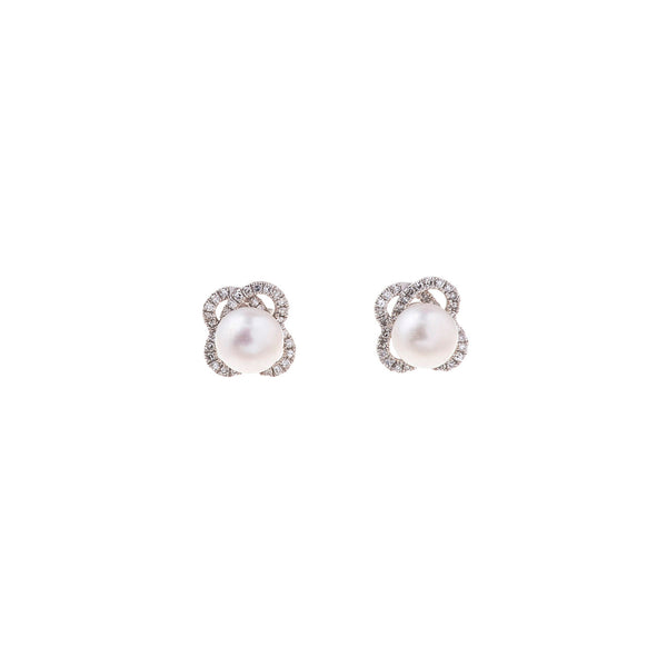 Gold and Diamond Pearl Earring
