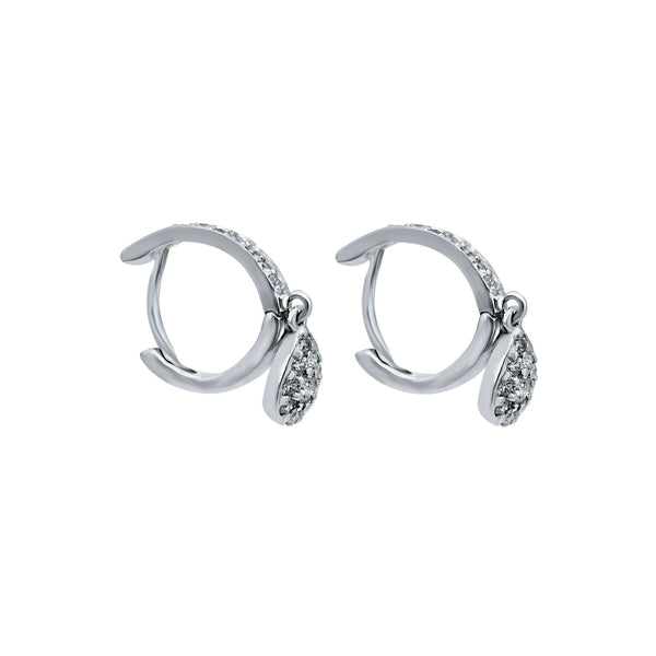 Diamond Pear Hanging Hoop Earrings