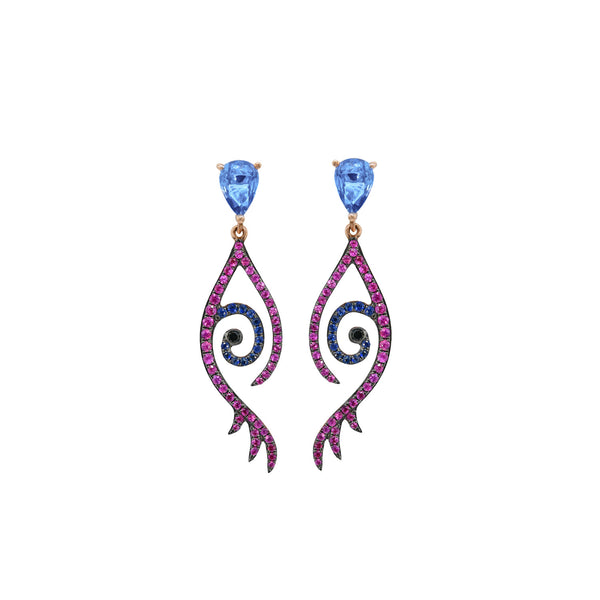 Pink Eye Lash Earring