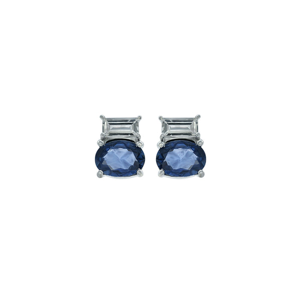 White and blue sapphire earring.
