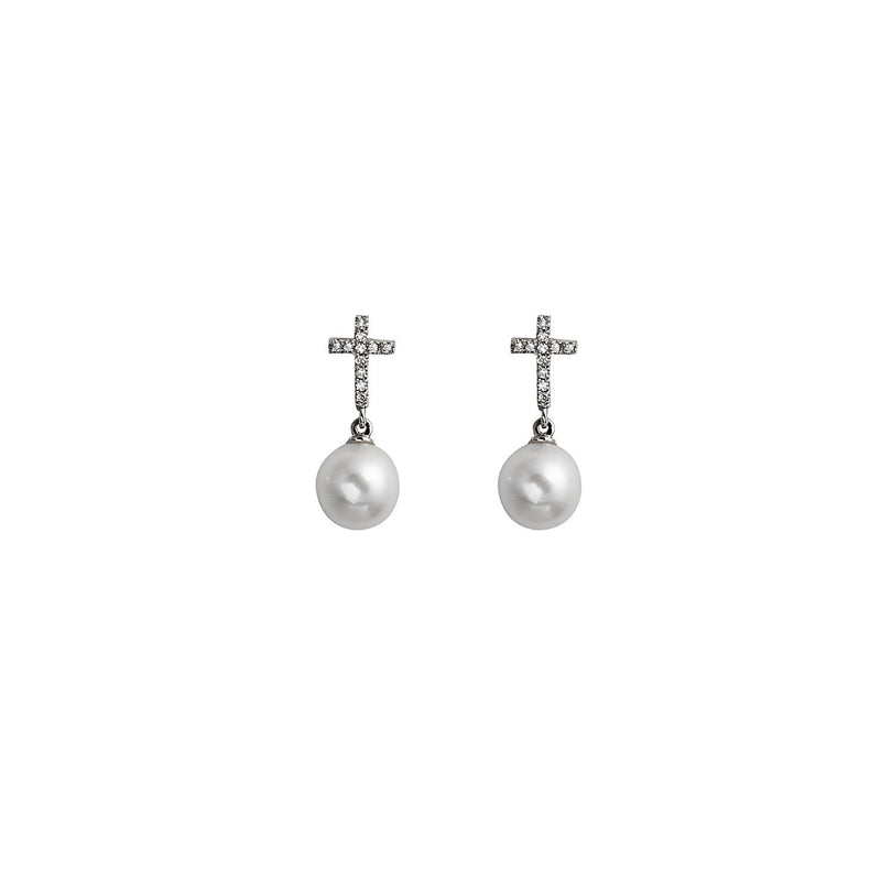 Diamond Cross Pearl Earring