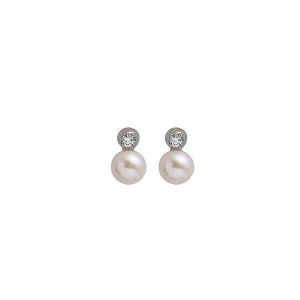 Single Diamond Pearl Earring