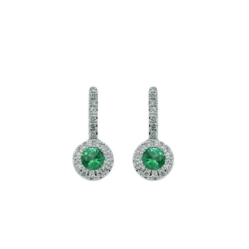 Round Emerald Earring