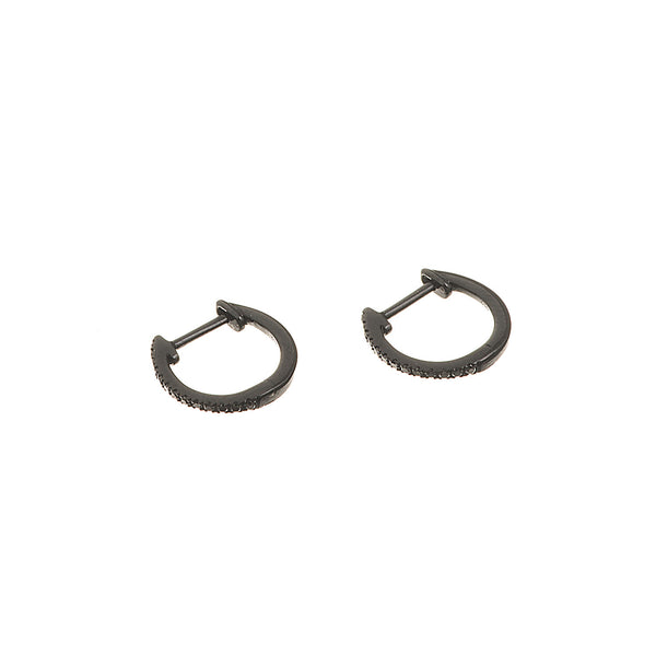 Mini Black Diamond Hoops