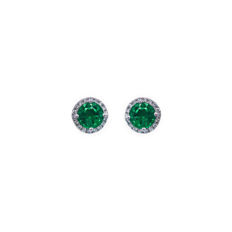 Diamond and Emerald Circle Stud Earrings