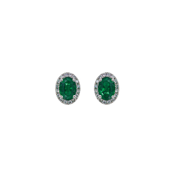 Emerald Oval Stud Earrings