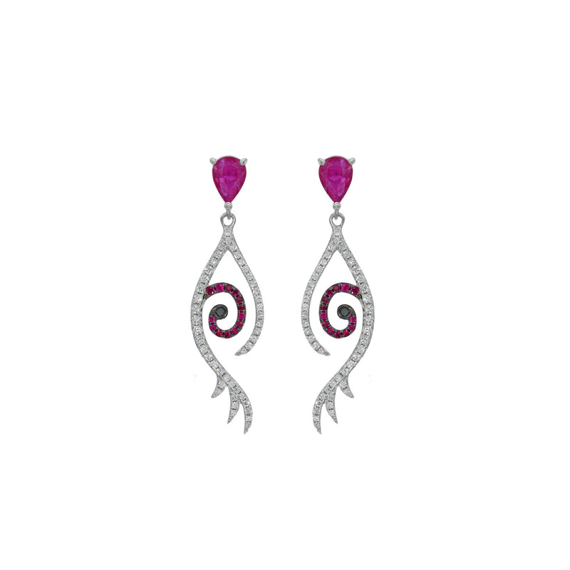 Ruby Drop Tattoo Earring