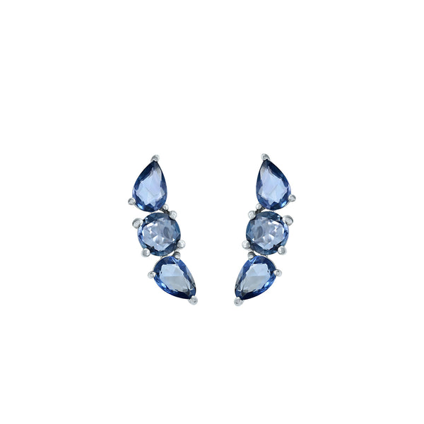 Three perfect sapphires make this earring unique