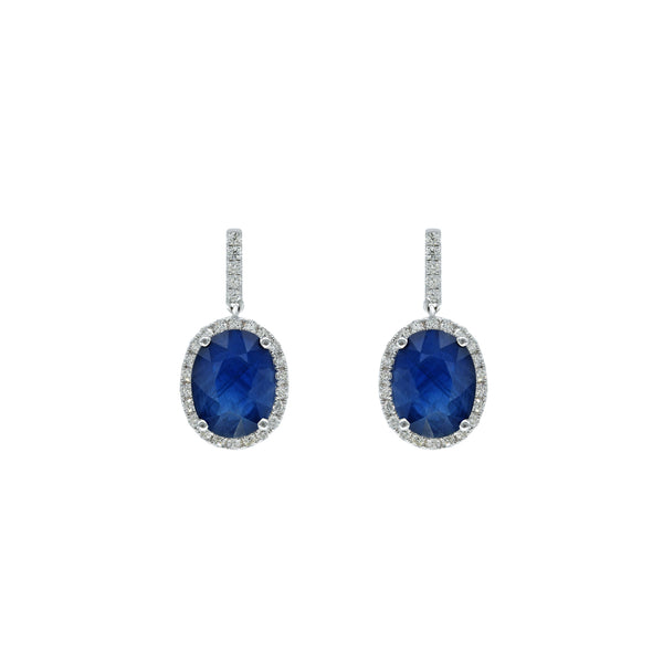 Oval Sapphire and Diamond Earring
