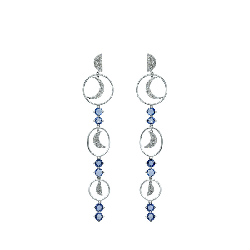 Diamond Moon and Sapphire Earring