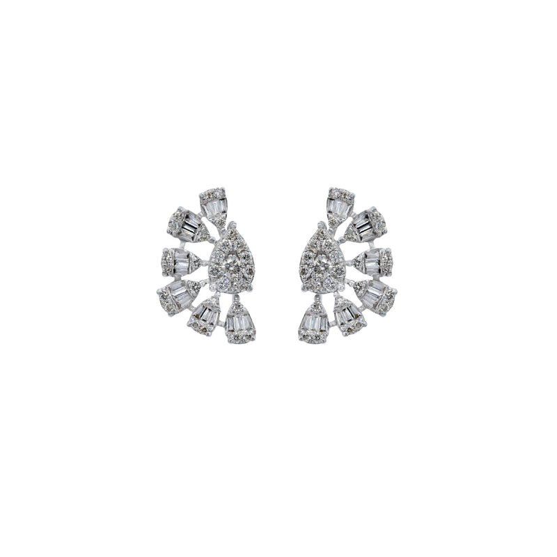 Pear shaped rosettes of diamonds. In 18k white gold