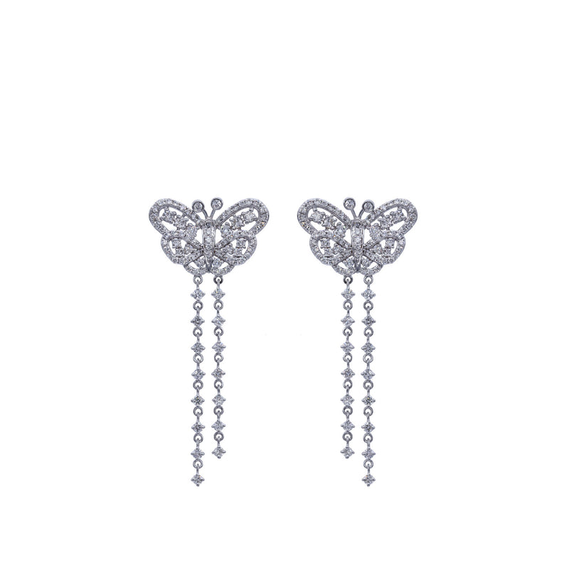 Butterfly diamond white gold earring