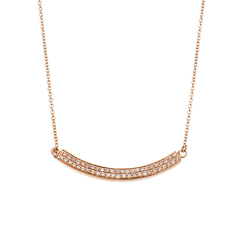 Two Line Diamond Bar Necklace