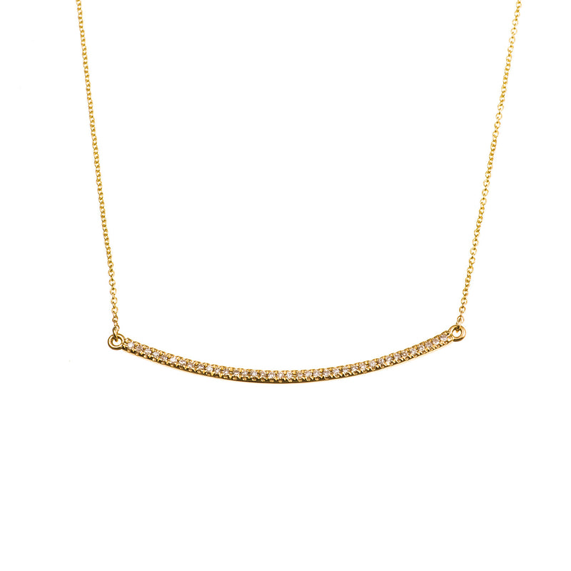 Gold and Diamond Bar Necklace