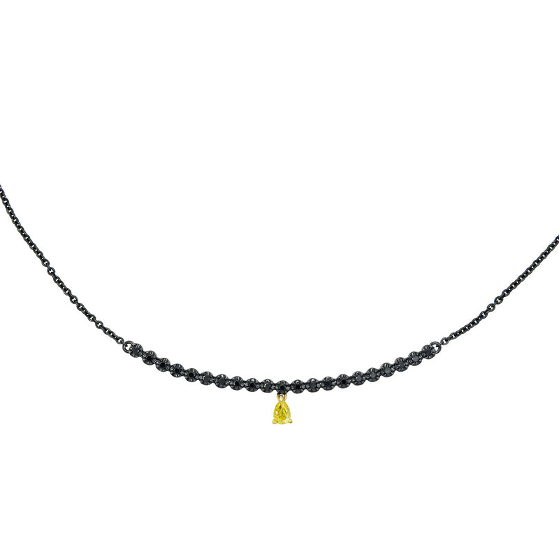 Yellow Diamond Pear Drop Necklace