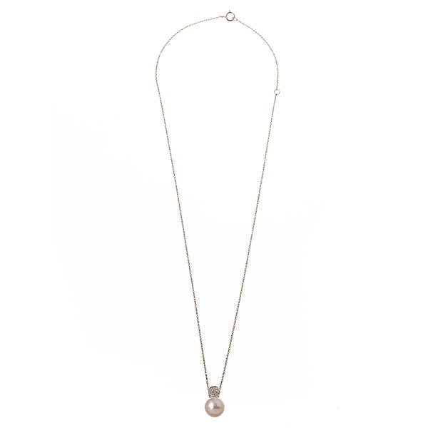 Diamond Circle Pearl Necklace