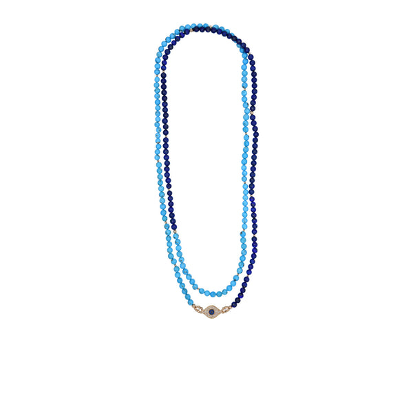 Lapis and Turquoise Evil Eye Necklace