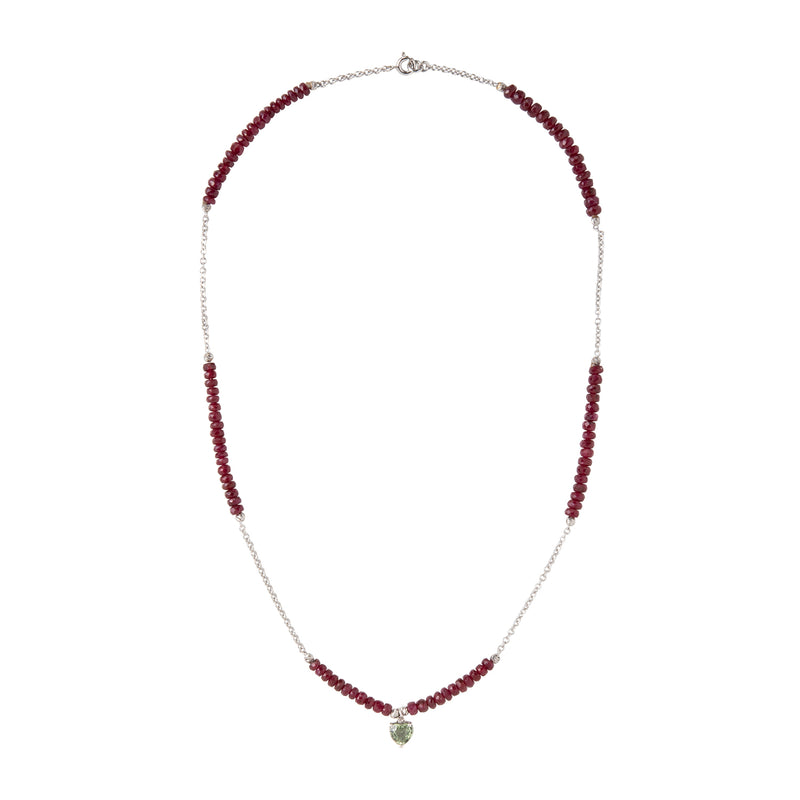 Green Sapphire and Ruby beads necklace
