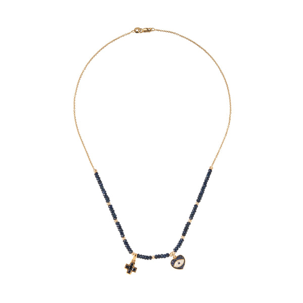 Evil Eye and Cross sapphire necklace