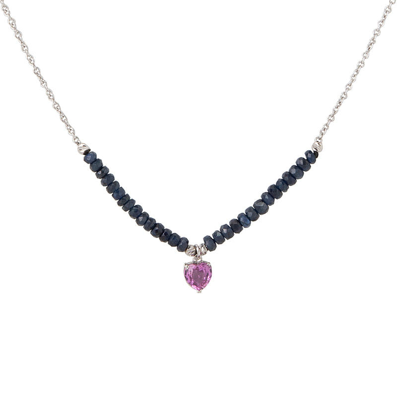 Pink Sapphire heart with blue sapphire and white gold chain