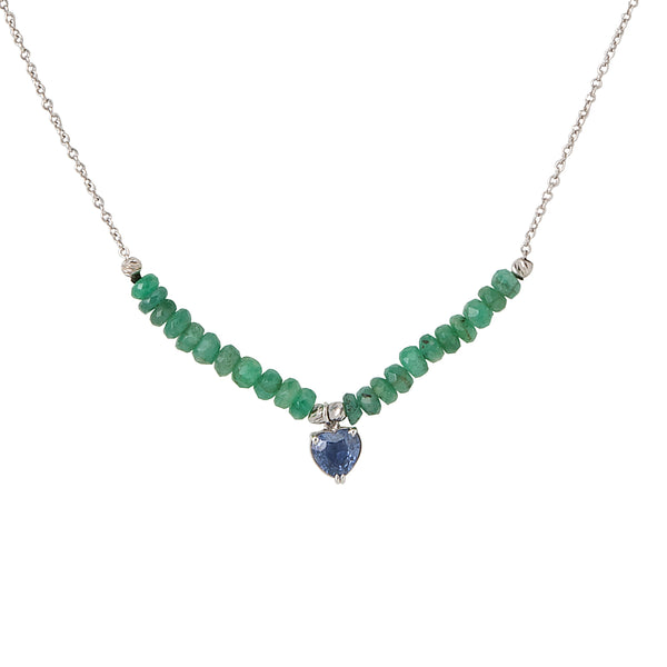 Blue sapphire heart with emerald beads and chain