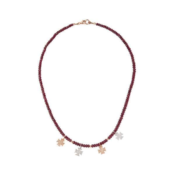 Rose and White gold crosses with ruby beads