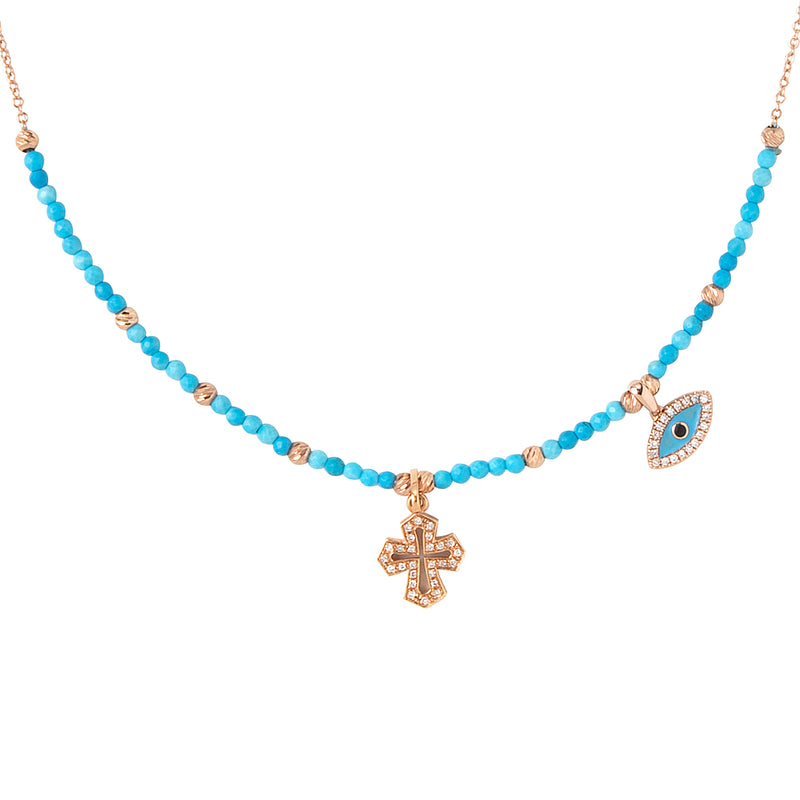 Cross and Eye Turquoise Necklace