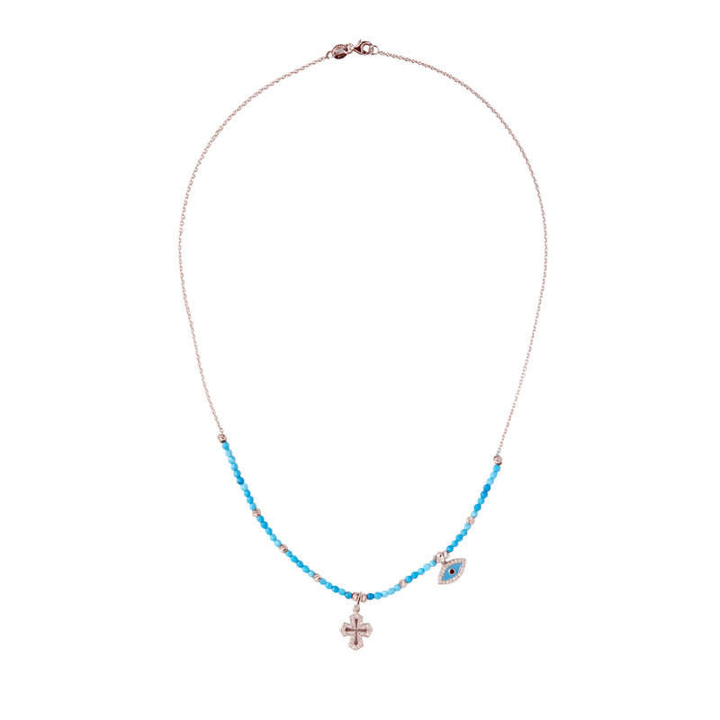 Gold Necklace with gold and turquoise beads