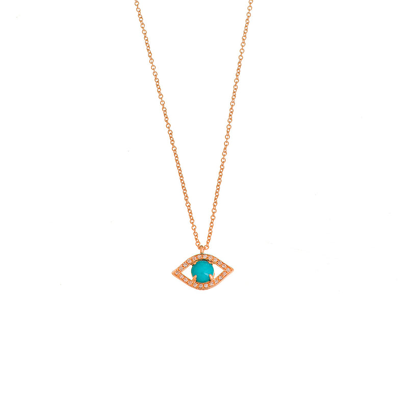 Turquoise and Diamond Eye Necklace