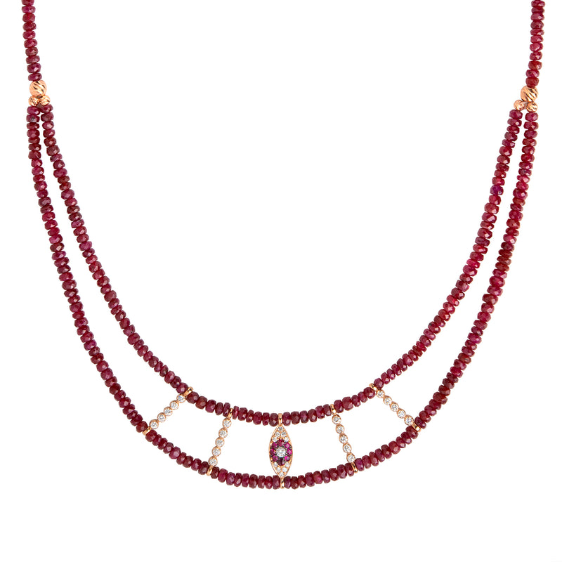 Ruby Evil Eye Necklace