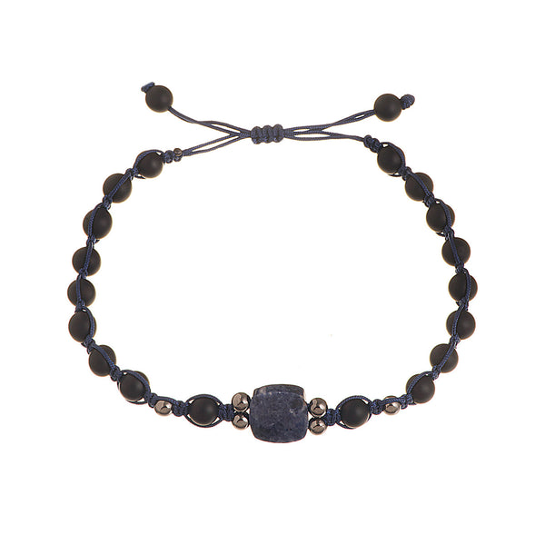 A unique square sapphire bracelet with black gold beads and onyx beads.
