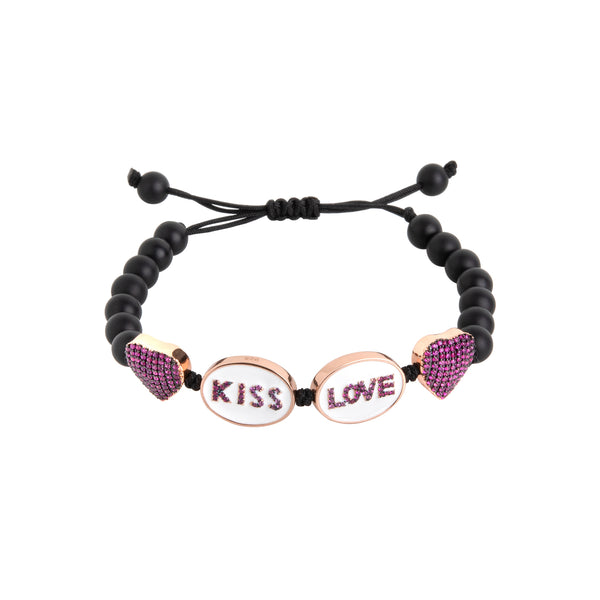 Kiss, Love, Heart Bracelet
