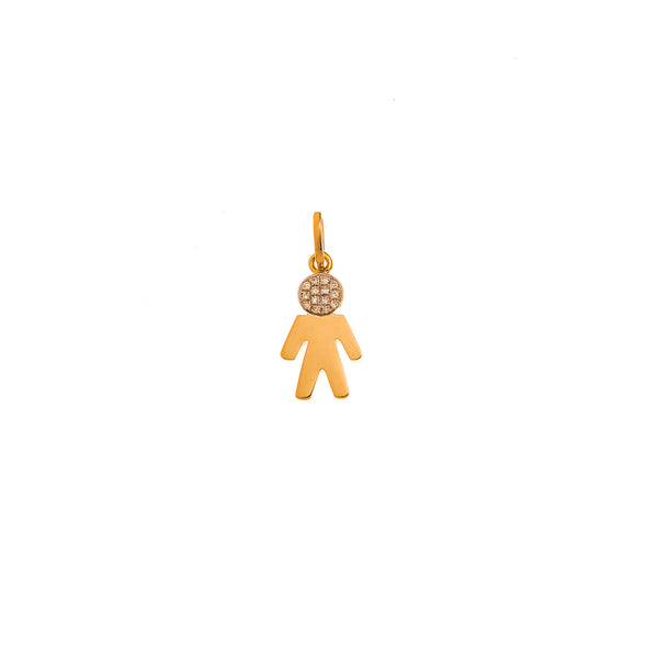 Little boy gold pendant with diamonds