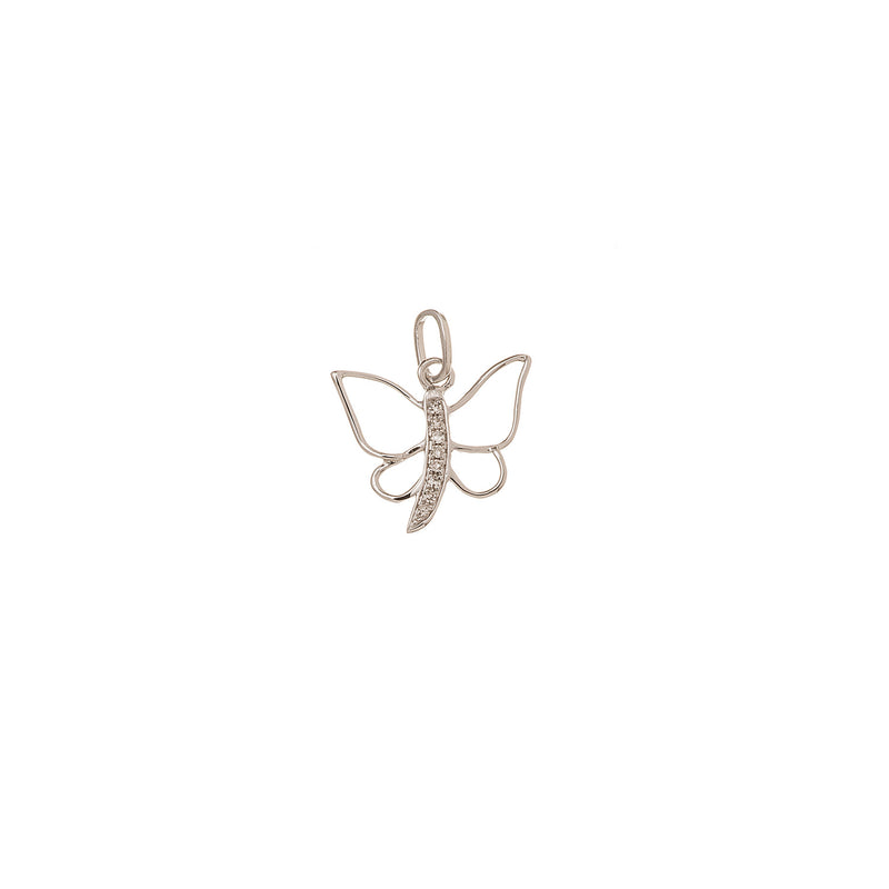 Beautiful butterfly pendant with white diamonds.