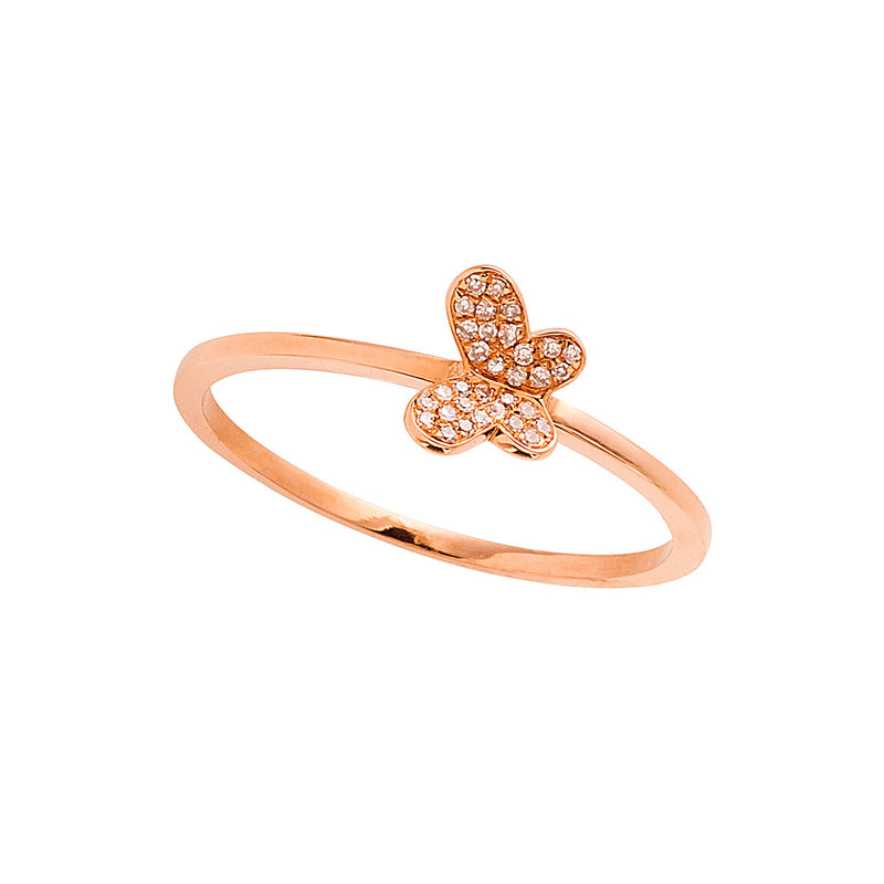 Butterfly gold ring with white diamonds.