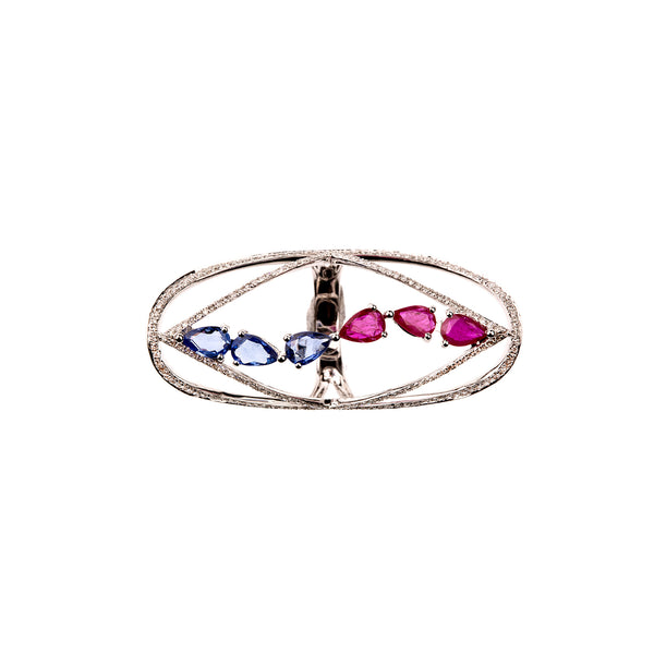 Sapphire and Ruby Starstruck Ring